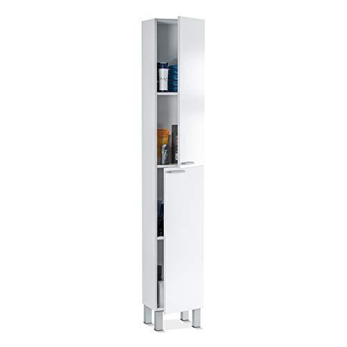 ARKITMOBEL 305260BO, Columna de baño Koncept con 2 Puertas y 4 Patas, Color Blanco Brillo, Medidas: 182 cm (Alto) x 30 cm (Largo) x 25 cm (Fondo)