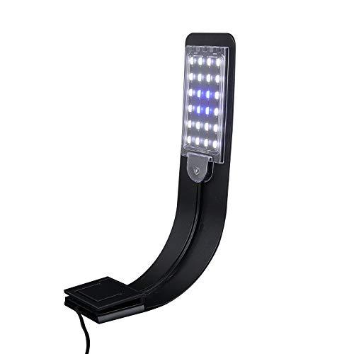 UEETEK Super delgado LED Plantas de luz de acuario crecen la iluminación creativa Clip-on lámpara con enchufe de la UE (luz azul)