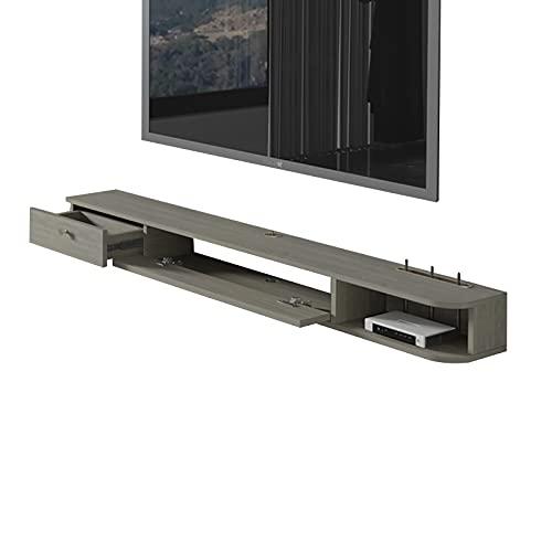 Bxzzj Mesa Flotante para TV, Consola Multimedia montada en la Pared, Soporte de TV versátil, Estantería de Consola de Almacenamiento para Sala de Estar. (Color : Grey, Size : 140CM)
