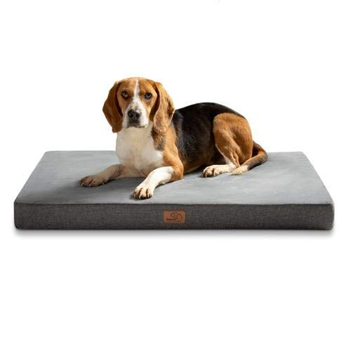 Bedsure Memory Foam Dog Crate Mattress Large - Waterproof Orthopedic Dog Bed with Soft Washable Cover, Grey, 89x56x8cm