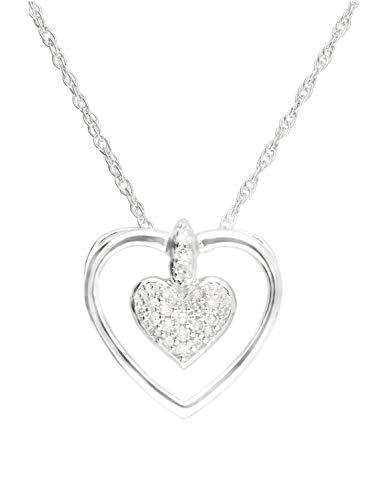 Halskette mit Anhänger Weissgold Weißgold 333 Gold (8 Karat) Diamant 0,06ct. Kette 45cm Herz 12mm x 12mm Herzkette Diamantkette Goldkette Nadia V0013541
