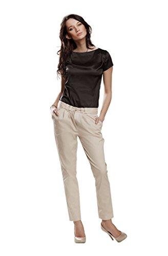 nife Damen Bluse Satinbluse Blusentop Shirt Satin Abendmode Business Kurzarm Schwarz Größe 36
