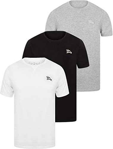 Essentials (3 Pack) Crew Neck Cotton T-Shirts In Bright White / Light Grey Marl / Jet Black – Tokyo Laundry-S