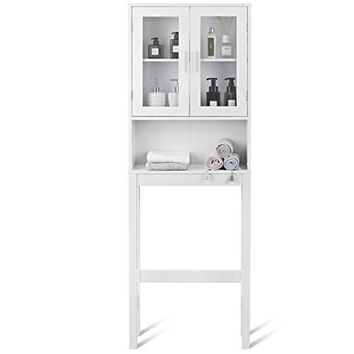 COSTWAY Toilettenschrank weiß, Badezimmerregal mit verstellbarem Einlegeboden, Überbauschrank Bad, Waschmaschinenschrank Badschrank Holz, Hochschrank für Badezimme Küche Balkon, 170x58x18,5cm