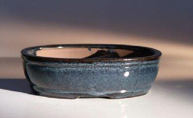 Bonsai Boy's Blue Ceramic Bonsai Pot - Oval Land Water Divider 7 75 x 6 0 x 2 5