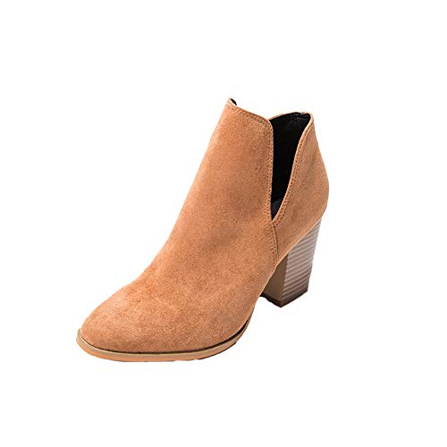 Dames Suede Booties, Blok Hakken Enkellaarzen Mode Casual Party Chelsea Boots Herfst en Winter Trek-On Antislip Wear Resistant Martin Boots