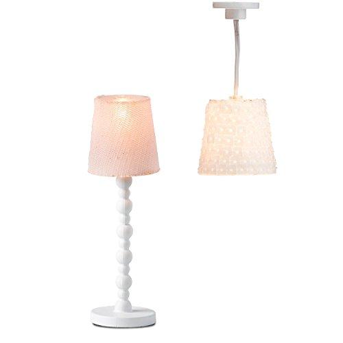 Lundby 60.6040.00 - Lampenset, lámpara de pie y lámpara de Techo, Mini muñeca con Accesorios