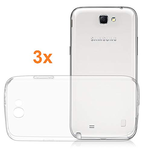 REY Pack 3X Cover in Gel TPU Trasparente per Samsung Galaxy Note 2, Ultra Sottile 0,33 mm, Morbido Flessibile, Custodia Silicone