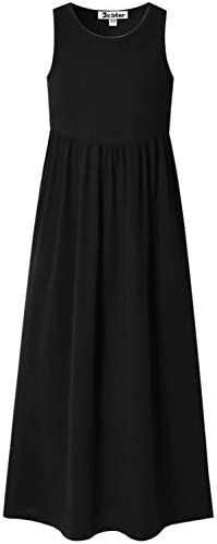 Jxstar Teen Girls Maxi Dresses Size 12 13 Black Summer Dress Casual Holiday Sun Dress product image