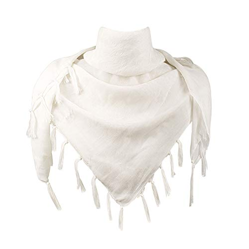 Explore Land Cotton Shemagh Tactical Desert Scarf Wrap (Solid White)