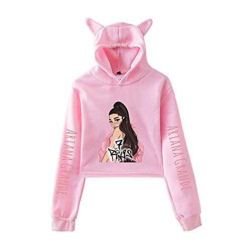 Xdsy Ariana Grande Mode Katzenohren Nabelpullover Frauen,PINK-2,L