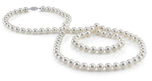 Weiße Japanische Akoya Perlenkette 5,5-6mm AAA Süßwasser Zuchtperlen Rope Länge 129cm - Weißgoldverschluss