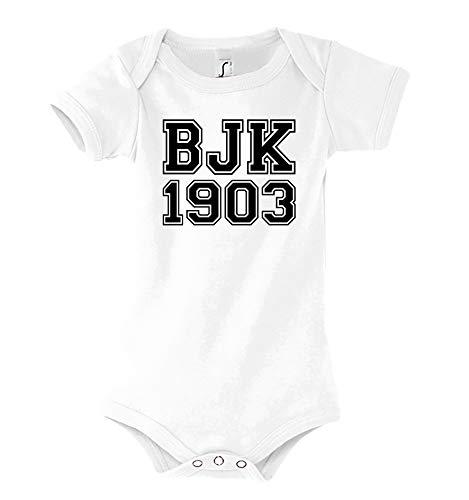 TRVPPY Baby Kurzarm Body Strampler Modell Besiktas, Gr. 3-6 Monate, Weiß