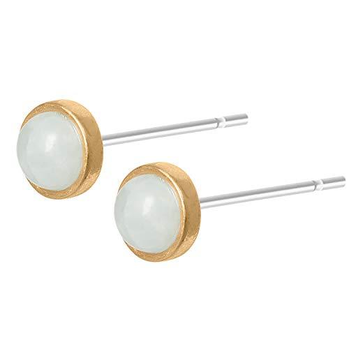 Sence Copenhagen Damen Ohrstecker Gold aus der Essential Earring-Serie mit einer Blauen Aquamarin Perle Messing vergoldet - A508