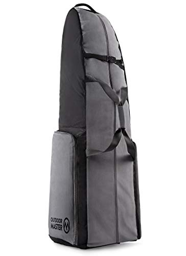 OutdoorMaster Golf Travel Bag - 600D Heavy Duty Oxford Waterproof Padded Golf Club Bag with Wheel, Soft-Sided Universal Size - Salvator - Black & Grey