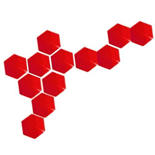 12pcs Kinder Spiegel Wandaufkleber Wandsticker Spiegelfliesen - Rot, 184x160x92mm