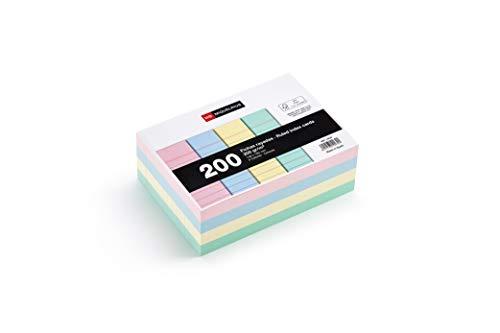 Miquelrius - Flashcards Tarjetas para Estudio, Fichas para notas, Rayas Horizontales, Tamaño A6 105 x 148 mm, Colores pastel