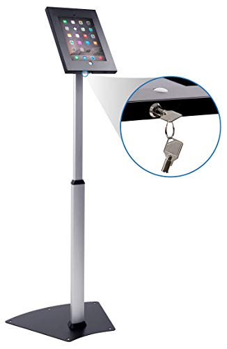 Mount-It! Anti-Theft Tablet Kiosk Floor Stand Compatible With iPad and Samsung | Height Adjustable Secure Check-In Stand | Free-Standing Or Secure Bolt-On Design