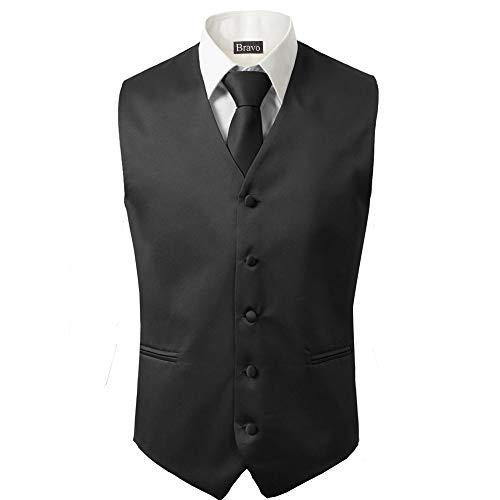 3 Stück Weste + Krawatte + Einstecktuch Herren Mode formell Kleid Anzug Slim Smoking Weste Mantel - Schwarz - X-Large