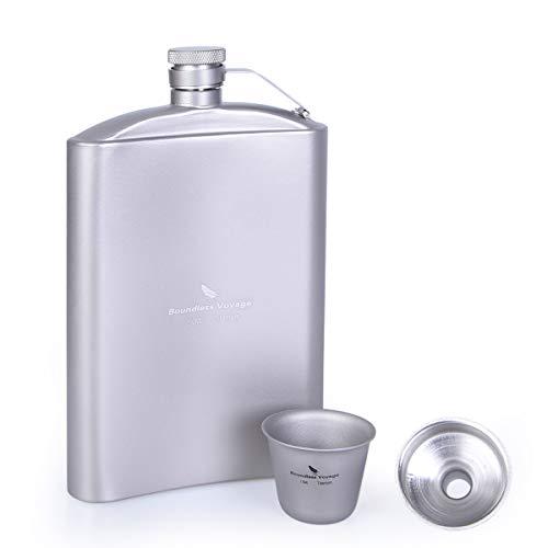 iBasingo 8,5 oz/250 ml Titanium Hip Flask Sake Cup Set met trechter Outdoor Camping Picknick Pocket Alcohol Whiskey Flagon Wijn Thee Mok