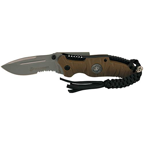 "USMC ELITE MARINE CORPS ""REAPER"" TACTICAL FOLDING KNIFE - TAN / BLACK BLADE"