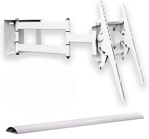 Supporto TV da parete, orientabile, bianco, con canalina per cavi, inclinabile, TV fino a 55'