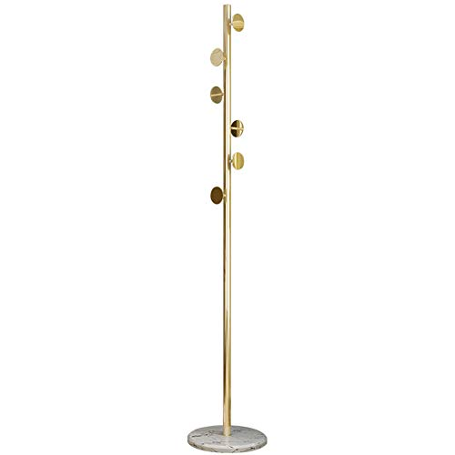 YHDP Gehobenen Stand-up Garderobe,Marmorsockel 6 Haken Stand-Alone Garderobe,Abnehmbare Einfach Zu Montieren Hanger Bodendecken-kleiderbügel-Golden. 70,9 Zoll