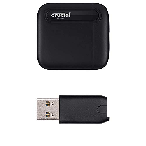 Crucial X6 2 TB Portable SSD - up to 540 MB / s - USB 3.2 - USB-C - CT2000X6SSD9 External Solid State Drive + USB-C to USB-A Adapter - CTUSBCFUSBAMAD