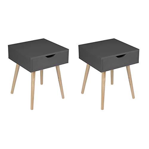 EUGAD 2er Set Nachttisch Nachtschrank Beistelltisch Nachtkommode Sofatisch, modernes & skandinavisches Design mit Schublade und Holz Beinen, 0080ZZ-2 Grau