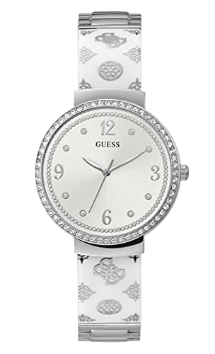 GUESS Women Stainless Steel Quartz Watch with Resin Strap, Silver, 16 (Model: GW0252L1)