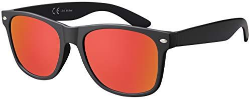 Massiva GmbH Sonnenbrille La Optica UV 400 CAT 3 CE Damen Herren Nerd - Einzelpack Matt Schwarz (Gläser: Rot Verspiegelt)