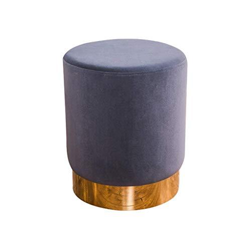 YZjk Velvet Footstool mit Gold Metal Rim Modern Round Ottoman schminktisch hocker gepolsterter Stuhl Puff für Wohnzimmer Schlafzimmer (Farbe: grau)