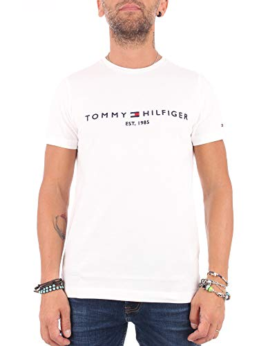Tommy Hilfiger Tommy Flag Hilfiger Tee Maglietta, Bianco (Snow White 118), M Uomo