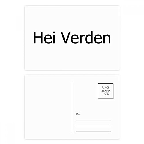 DIYthinker Hallo Welt norwegische Sprache Postkartenset Geburtstag dankt Karte Mailing Side 20pcs 5.7 Zoll x 3.8 Zoll Mehrfarbig