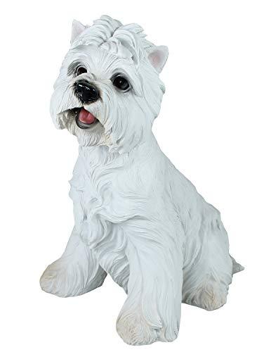 colourliving West Highland Terrier Figur Westi Tierfigur Gartenfigur Hund Figuren Highland Terrier White