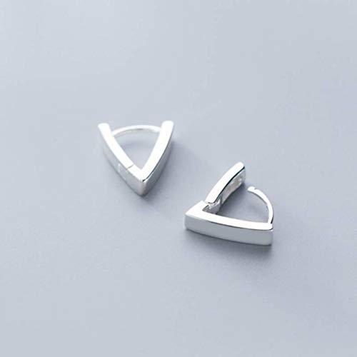 TYERY Pendientes de Plata S925, Pendientes de Moda de Triángulo V Brillante de Moda Coreana Femeninahebilla de hongo blanco s925