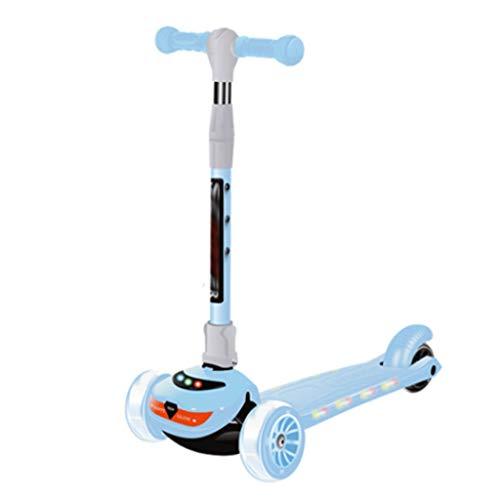 Scooters para Niños Principiante scooter plegable altura ajustable fácil de girar 3 ruedas scooter niños niños niñas parpadeando PU ruedas 130 lbs de capacidad de capacidad Antideslizante Scooter Pati