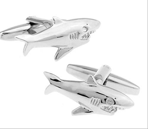 XKSWZD Manschettenknöpfe Männer Geschenk Hai Manschettenknöpfe Tier Design Silber Farbe Kupfer Manschettenknöpfe für Männer