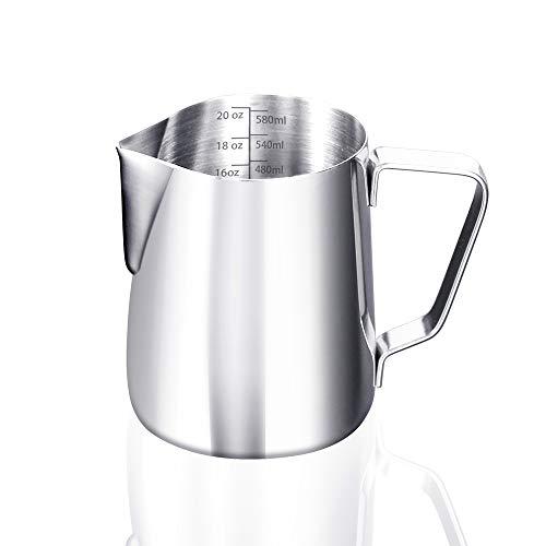 ERWEY Milchkännchen, Milk Pitcher 600ml / 20 FL.oz. Milchkanne aus Edelstahl Milch Aufschäumen Krug Art Aufschäumkännchen für Cappuccino und Latté, Silber (20 FL.oz/600 ml)