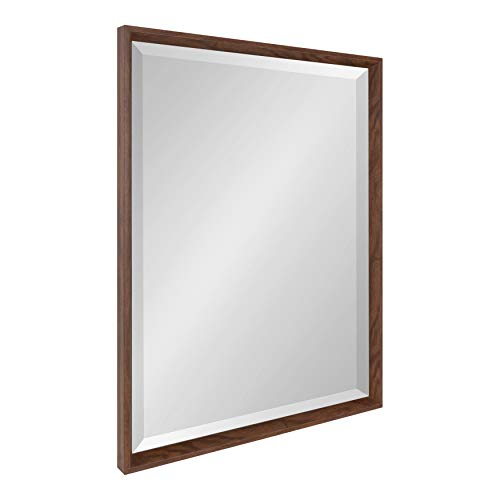 Kate and Laurel Calter Rustic Decorative Framed Beveled Wall Mirror, 23.5x29.5 Walnut -