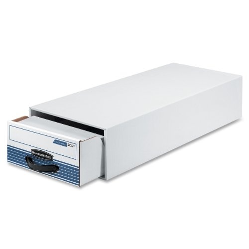 Bankers Box 00302 STORDRAWER Steel Plus Storage Box Check Size Wire WhiteBlue Case of 12