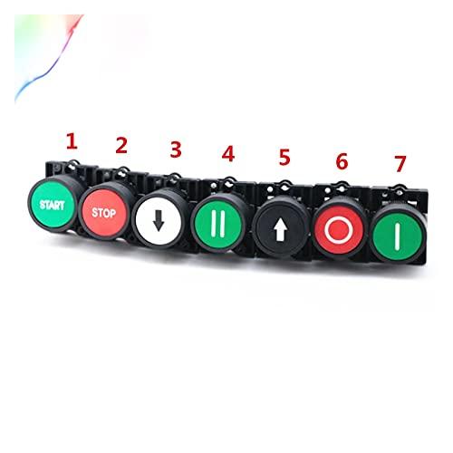 Jgzwlkj Interruptores de botón Interruptor de botón momentáneo 22 mm Inicio botón de Parada con el símbolo de Flecha XB2 Botón de Interruptor táctil Plano (Color : 6 Red Circle)