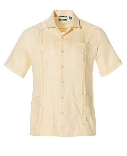 Cubavera Herren Short-Sleeve 100% Linen Guayabera Shirt Button Down Hemd, Banana Crepe, XX-Large Hoch