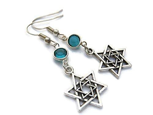 Star of David Birthstone Earrings, Hanukkah Earrings, Jewish Jewelry, Personalized Israeli Earrings, Judaism Earrings