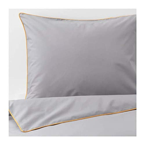 IKEA Kungsblomma Duvet Cover and Pillowcases Gray Yellow 504.231.39 Size: Full/Queen (Double/Queen)
