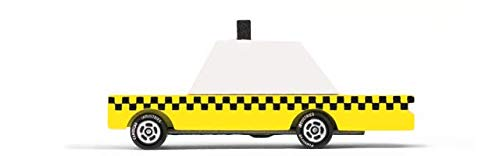 Candylab Toys Wooden Car, CandyCar Yellow Taxi, Kids Mini Toy Car, Solid Beech Wood