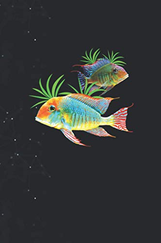 Geophagus Eartheater Cichlid Fish Tank Aquarium Keepers Journal lined Notebook 114 Pages Large 6''x9''