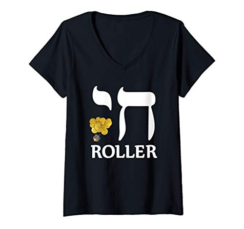Womens Chanukah Chai Roller Gelt Jewish Holiday Gift V-Neck T-Shirt