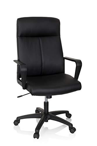 HJH Office, LISSO, bureaustoel, bekleed, kunstleer, zwart, bureaustoel, draaistoel, ergonomisch met wieltjes, in hoogte verstelbaar