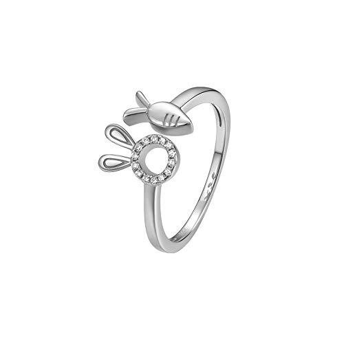 NKCOOL リング レディース 指輪 可愛いウサギイメージ メッキ18 K金 ローズゴールド シルバー S925 サイズ開口調整 ジルコニア アレルギー対応 女 プレゼント (シルバー)